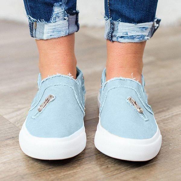 UK Women Flat Slip On Pumps Denim Trainers Ladies Loafers Plimsolls Shoes Size