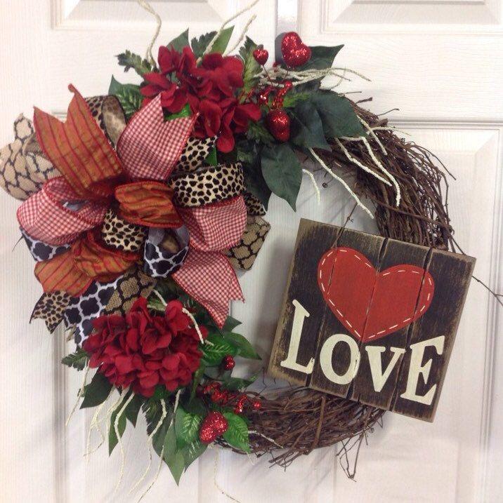 A Rustic, Charming Valentine Wreath.