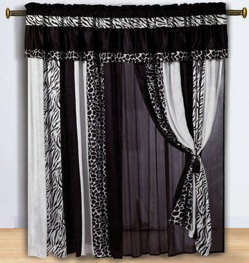 Black and white zebra and giraffe print curtain set with sheer backing 35 99 free