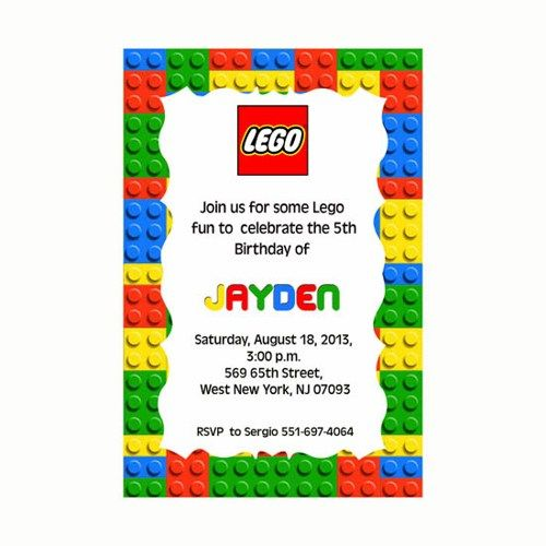 Lego Birthday Party Invitation Printable Lego Birthday Party