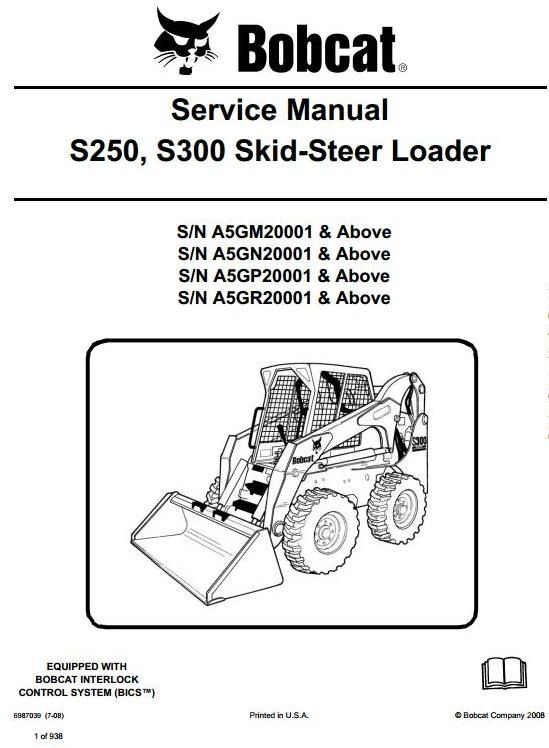 Original Illustrated Factory Workshop Service Manual for Bobcat Skid