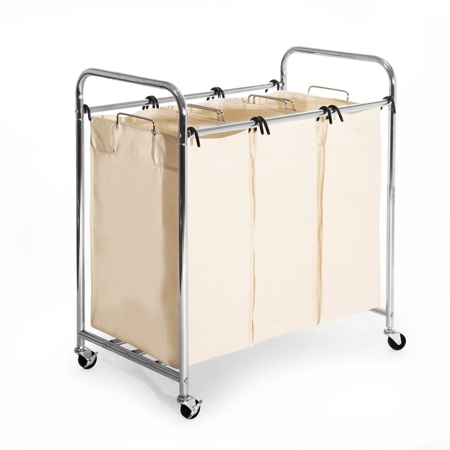 Amazon Com Seville Classics Heavy Duty 3 Bag Laundry Sorter Cart