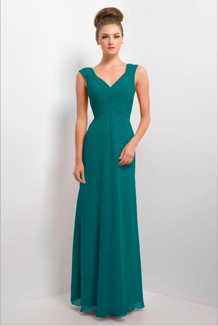 Teal Bridesmaid dress. Alexia designs bridesmaid dress. Long chiffon ...