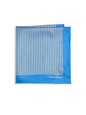 Salvatore Ferragamo Gancini Silk Pocket Square Blue Size No Squaressalvatore