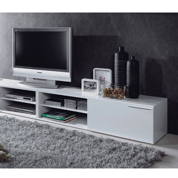 kikua meuble tv blanc brillant en panneaux de particules rev tement m lamin 1 porte. Black Bedroom Furniture Sets. Home Design Ideas