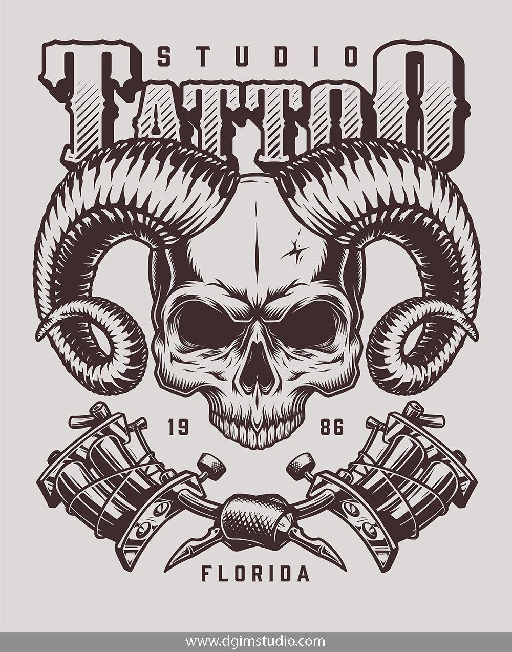 Demons Emblems Collection Tattoo Machine Design Logo Illustration Vector Art