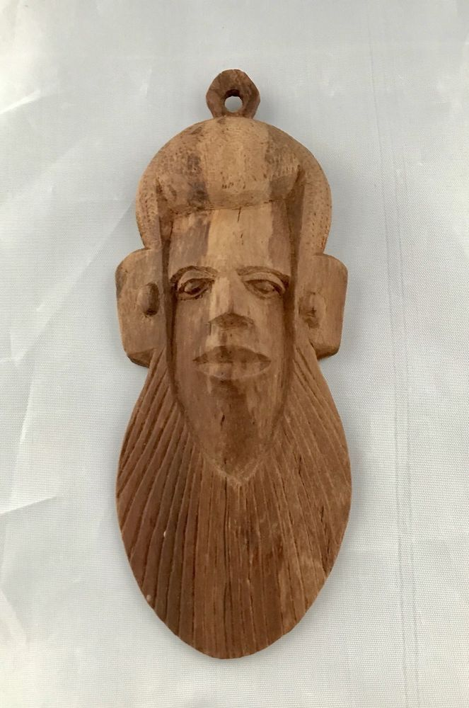 Vintage African Wood Head Carving Wall Hanging Plaque Mask