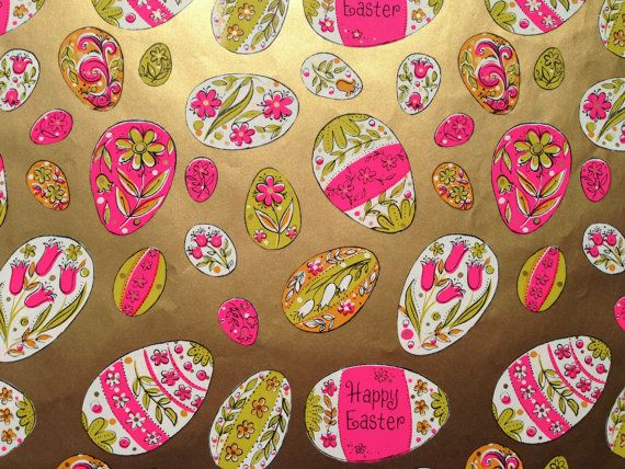 Vintage gift wrapping paper happy easter paper metallic gold vintage gift wrapping paper happy easter paper metallic gold pink and white eggs negle Image collections