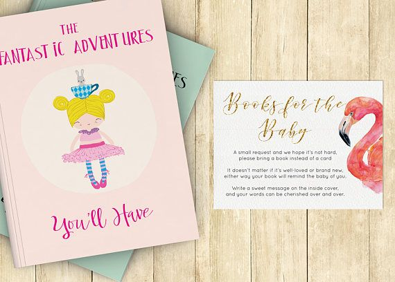 Bring A Book Baby Shower Invitation Insert Instead Of Card Stock Babyu0027s  First Library Boy Girl Flamingo Printable Instant Download 0025A