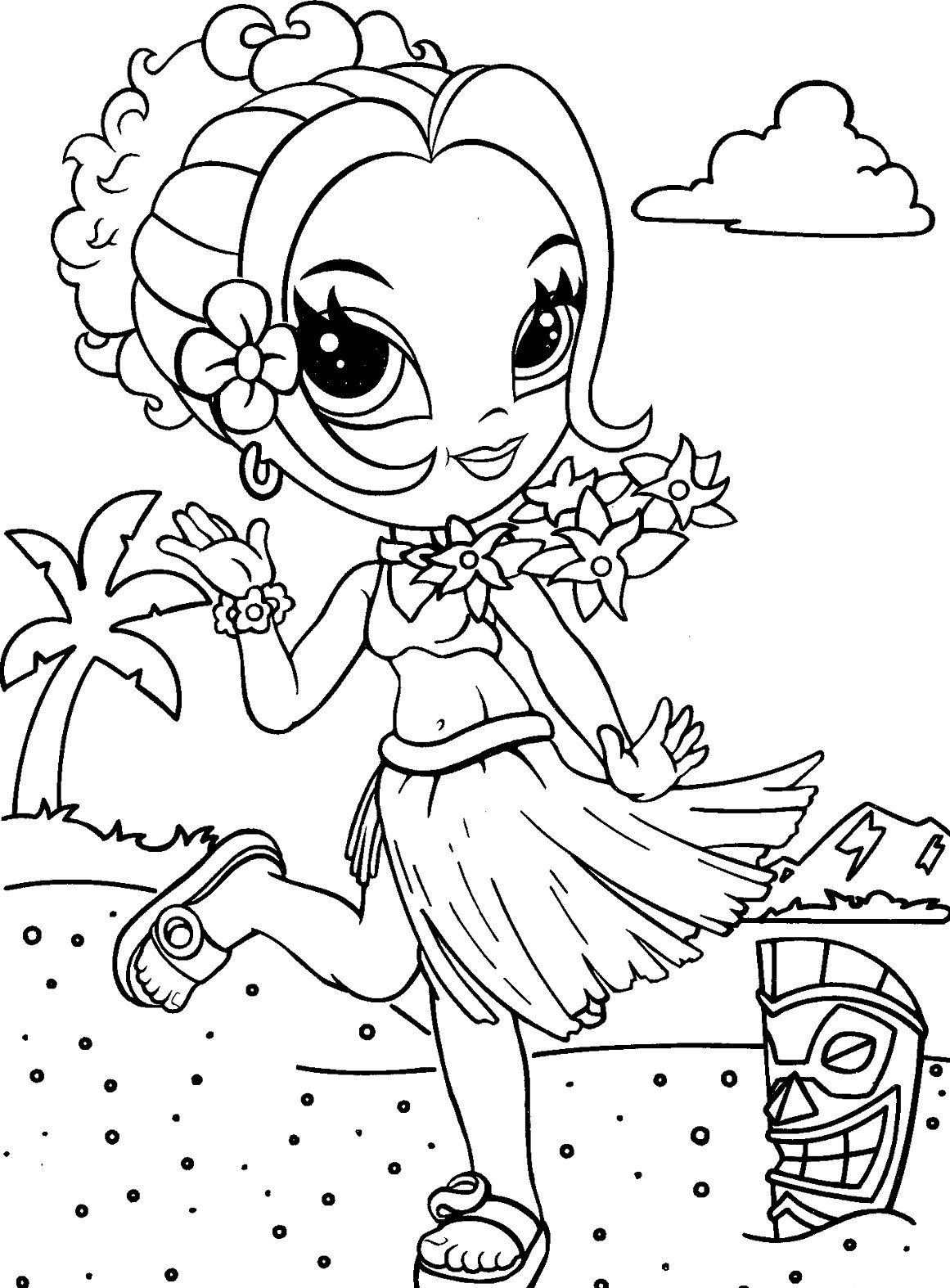 Lisa frank coloring pages to color online - Printable Lisa Frank Coloring Page Featuring Glamour Girl
