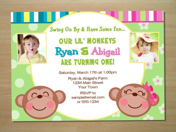 Monkey twin joint birthday invitation digital file printing monkey twin joint birthday invitation digital file printing available on etsy 1000 stopboris Choice Image