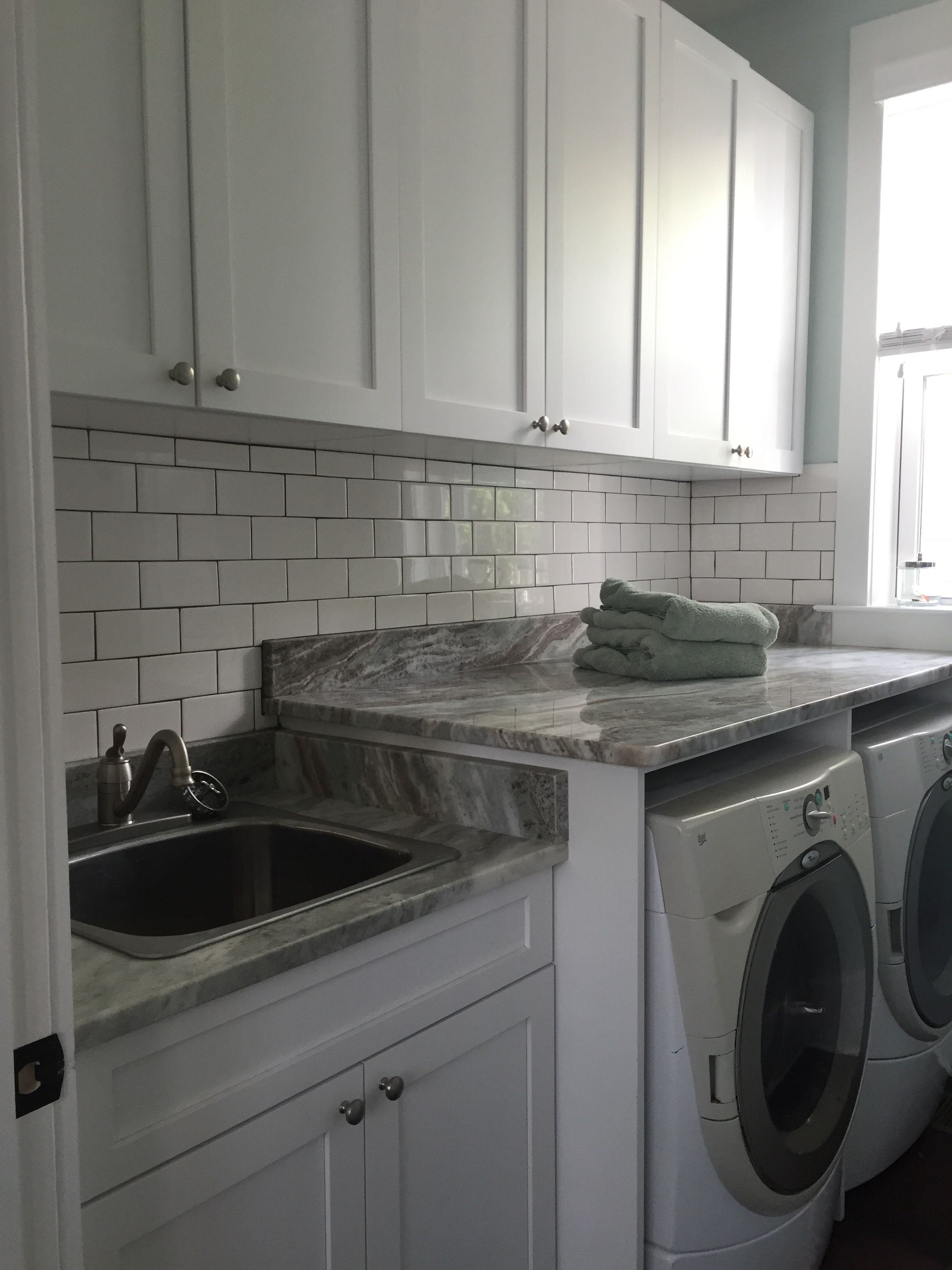 Laundry Room, Granite Counter Tops Are The Same As The Kitchen, White  Subway Tile. White Subway Tile BacksplashUtility SinkKitchen ...