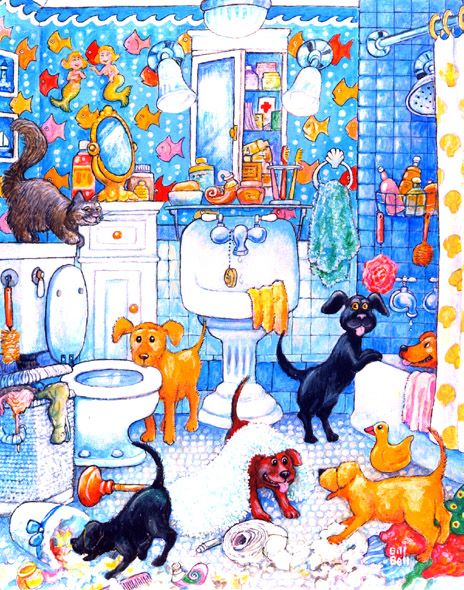 Bathroom Pups by Bill Bell ~ whimsical