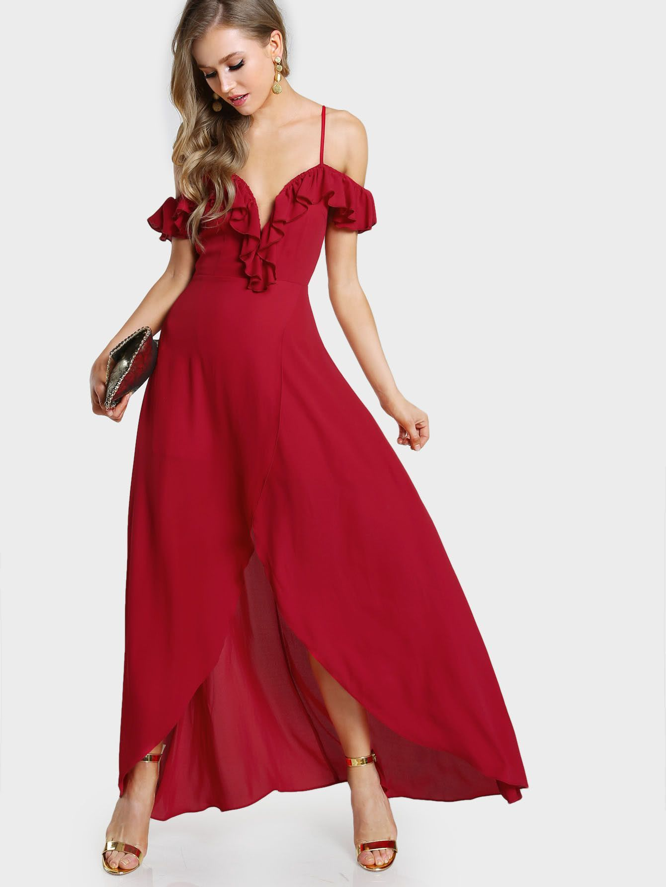 4299f5d5ba0 Red Deep V-Neck Frill Cold Shoulder Wrap Maxi Dress
