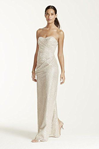 Long Strapless Metallic Lace Bridesmaid Dress Style W10329M, Gold ...