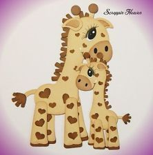 Cuddly Giraffes - Set of 2 - premade paper piecing 4 scrapbook pages layout card