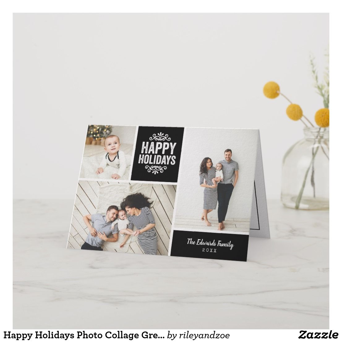 Happy Holidays Photo Collage Greeting Card Zazzle Com Happy Holidays Photo Modern Christmas Cards Holiday Design Card