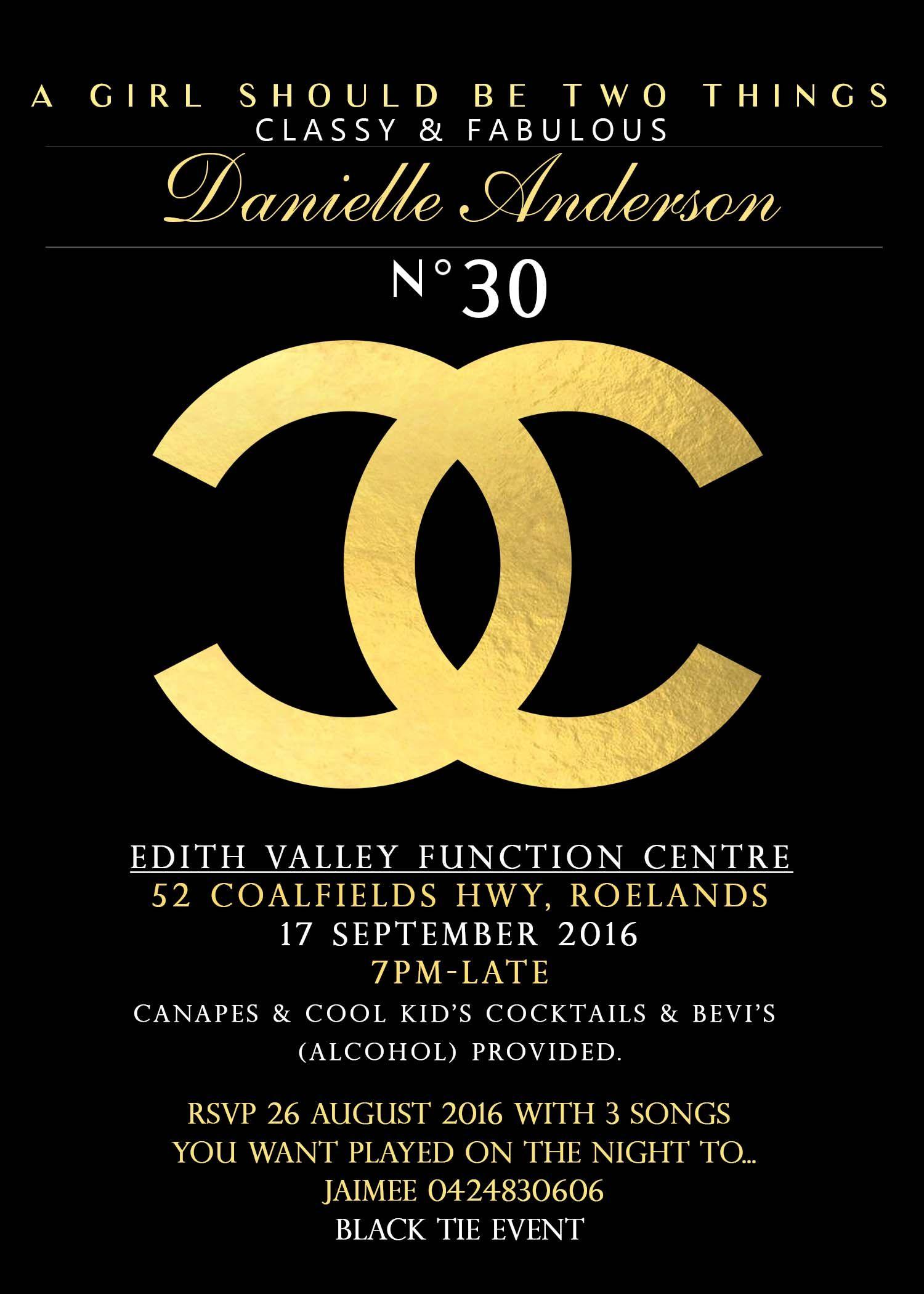 Chanel Birthday invitation Printable Chanel   Chanel Decorations ...