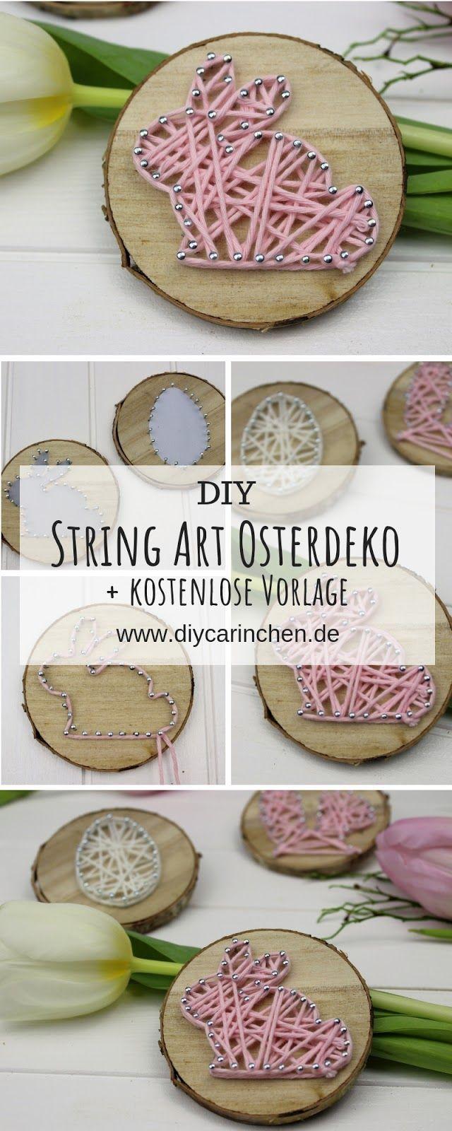 DIY Osterhase in String Art auf einer Astscheibe einfach selbermachen #weihnachtskartenbastelnmitkindern