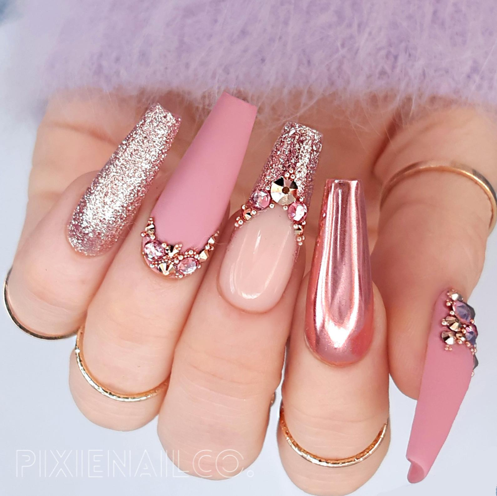 Press On Nails Matte Pink with Rose Gold Chrome and Swarovski Crystals Luxury Custom Nails