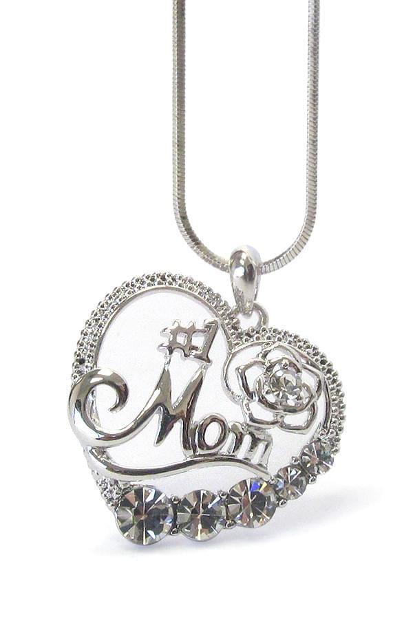 1 Mom Crystal Heart Pendant Necklace Mom Heart Necklace Crystal Heart Pendant White Gold Pendant Necklace