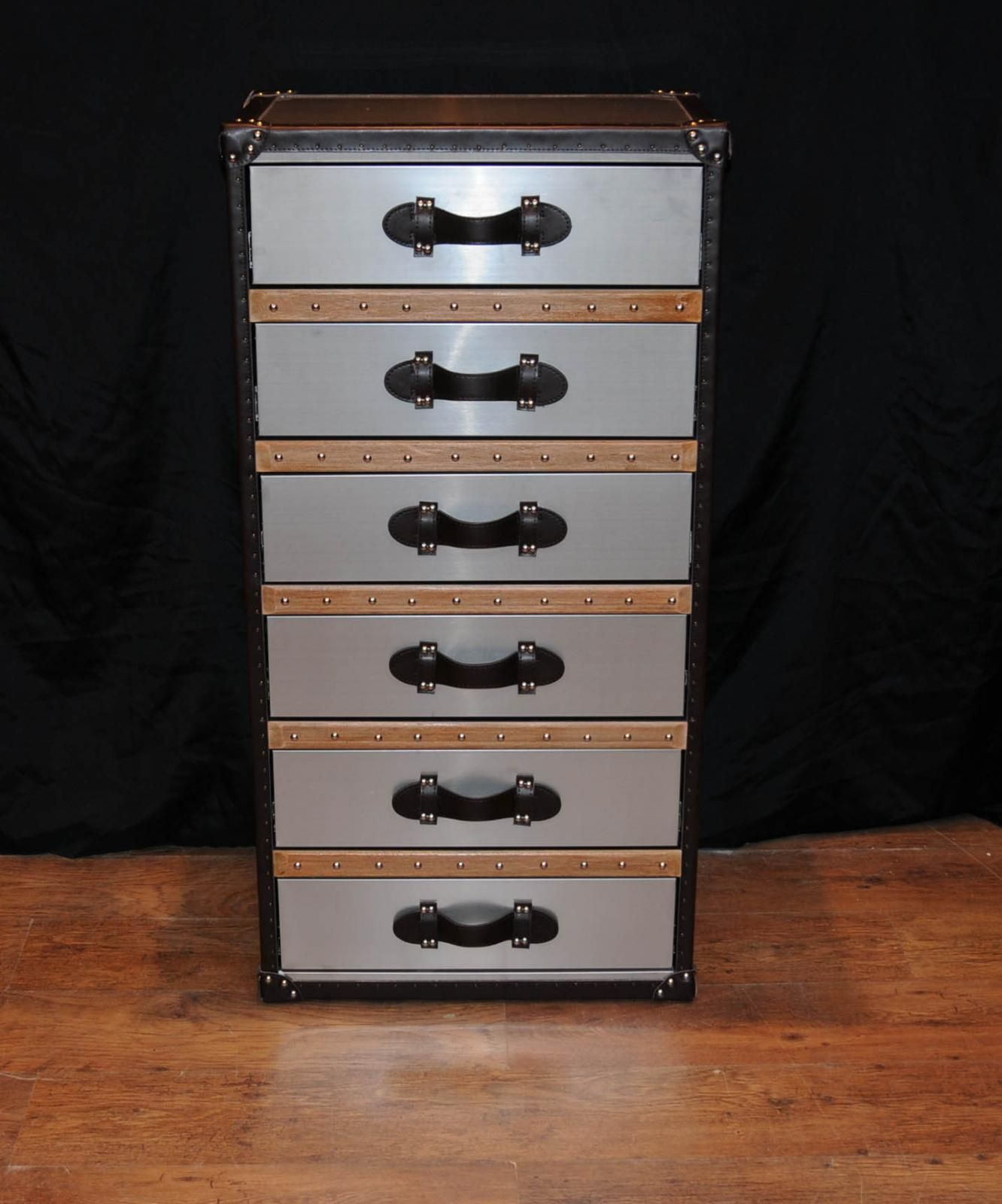 Photo Of Industrial Leather Chrome Chest Drawers Tall Boy Luggage Furniture