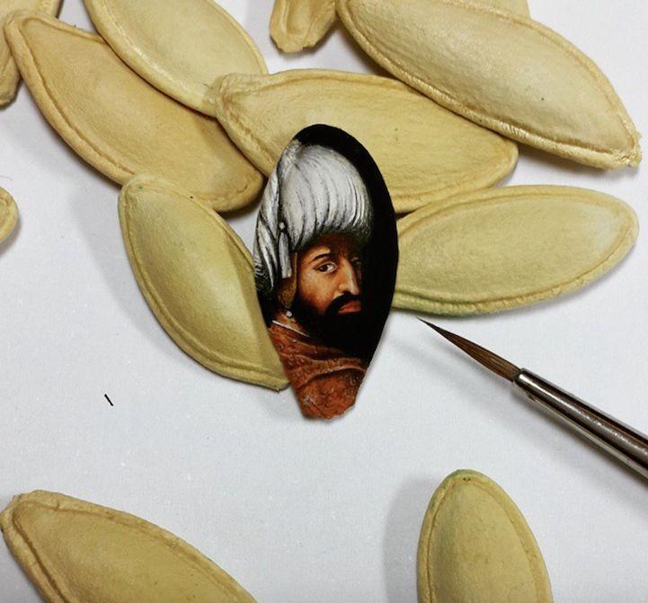 Artist Hasan Kale's tiny works #art measure smaller than a fingernail. #painting