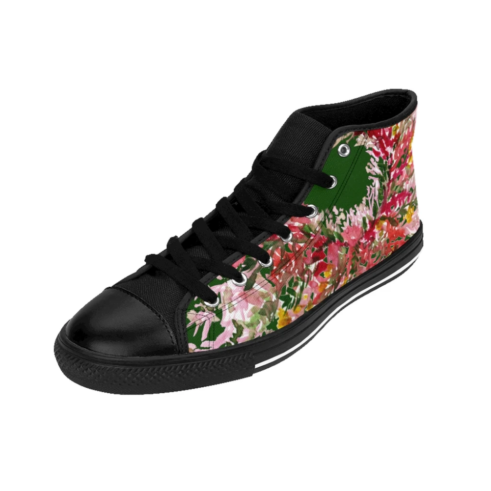 Forest Green Red Fall Floral Print Designer Men's High-top ...