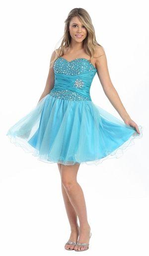 Turquoise Damas Dress Strapless Rhinestones Satin Waist ...