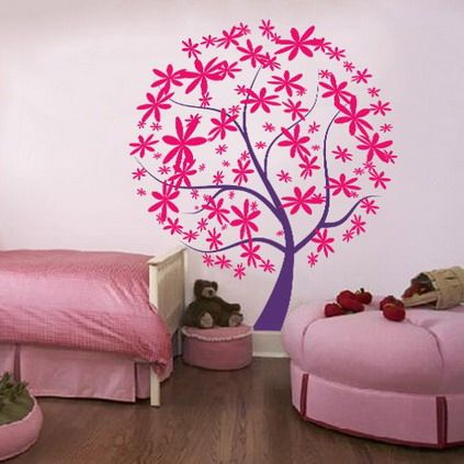 pink and purple tree wall decals stickers for teenagers girls bedroom wall decorating designs ideas - How To Decorate Bedroom Walls