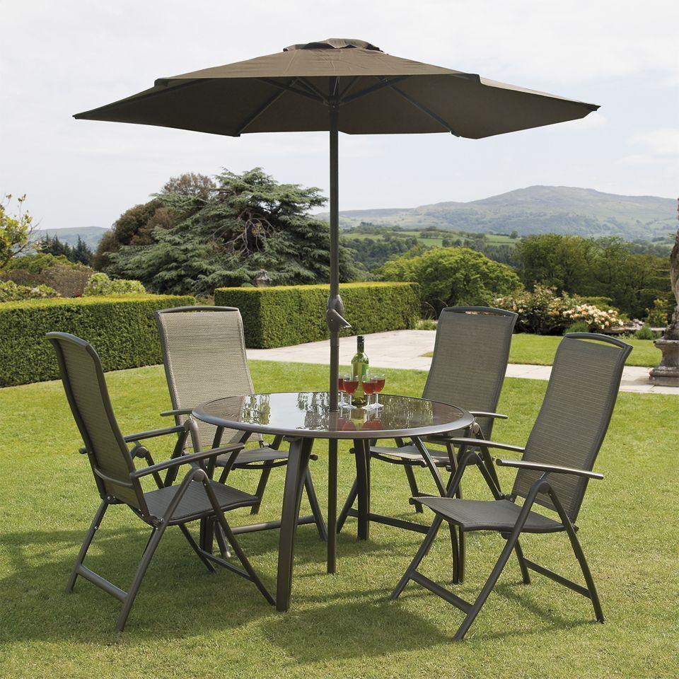 4 Seater Round Patio Set Bronze Steel Glass Parasol Garden