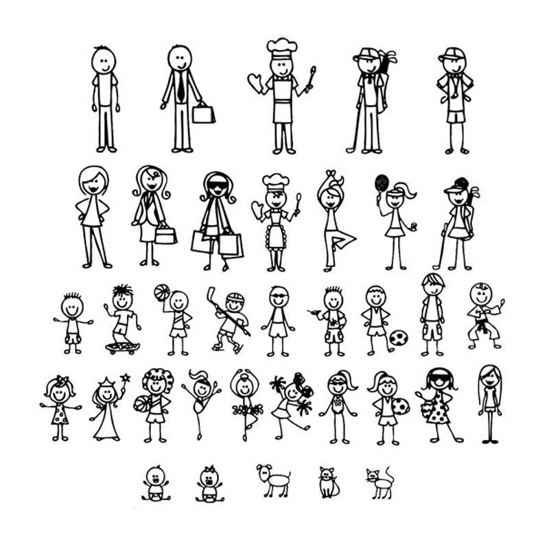 Personalized Stick Figure Family Car Stickers Interesting