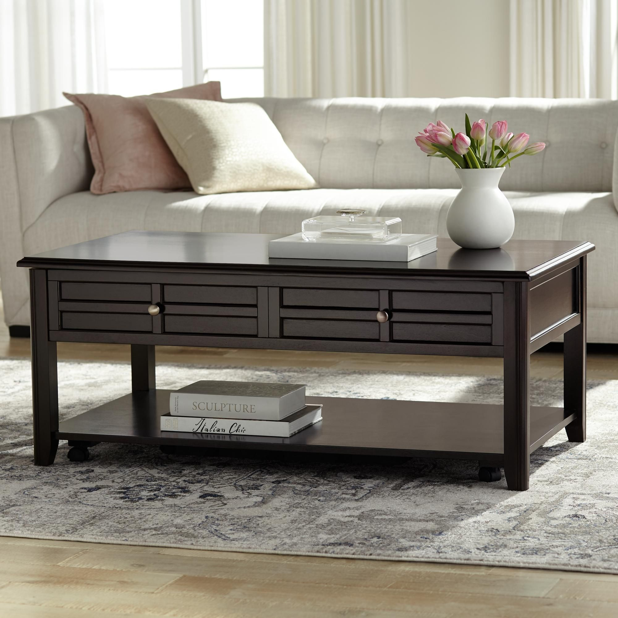 Carrier 50 Inch Wide Espresso Lift Top Storage Coffee Table