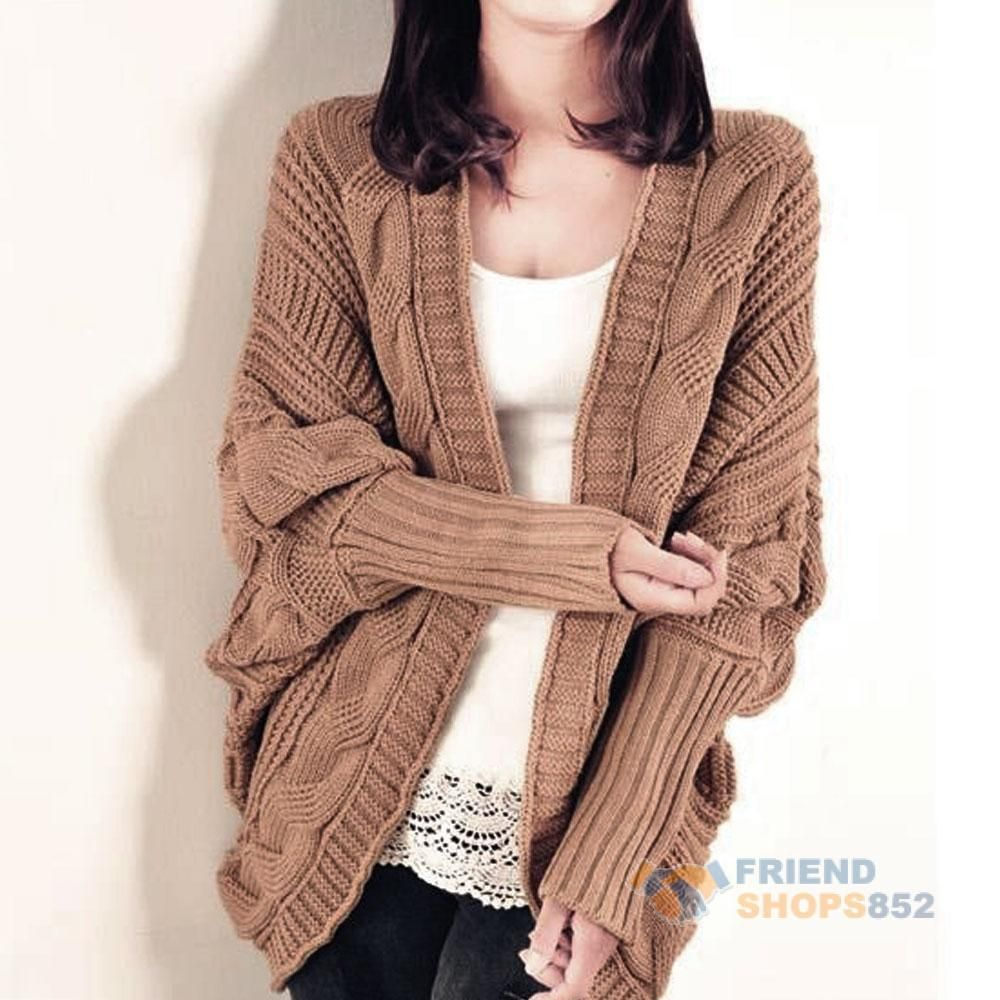 2016 #f9s Cable Knit Open Front Batwing Sleeve Cardigan Wrap Cape ...