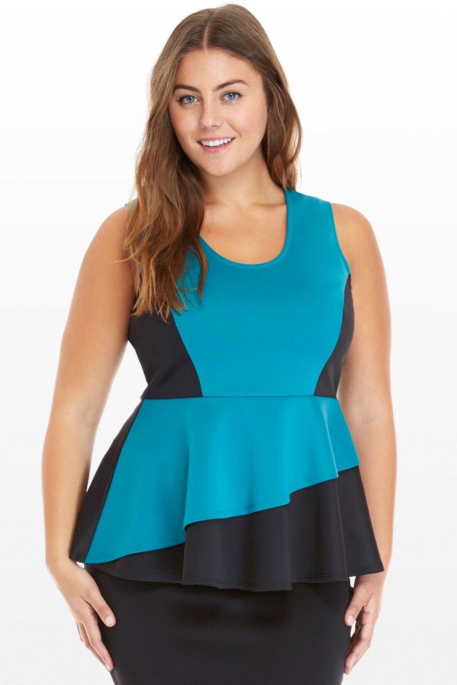 Plus Size Chelsea Color Block Peplum Top | Fashion To Figure