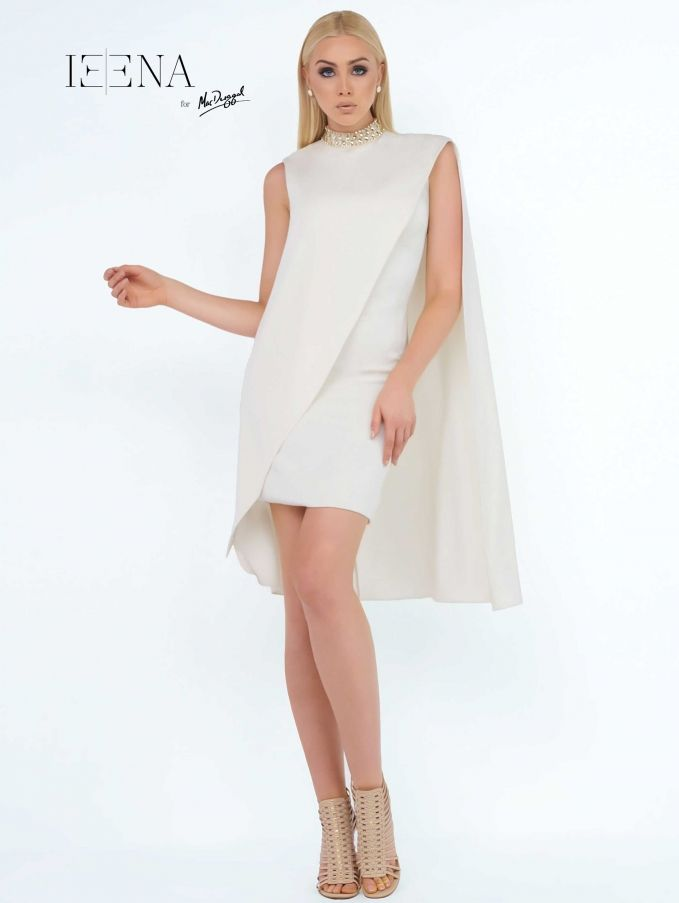 Looking for the perfect Interview Outfit for your next pageant? See this and other options at ThePageantPlanet.com.  SHEATH High Neck Natural Polyester short Ivory