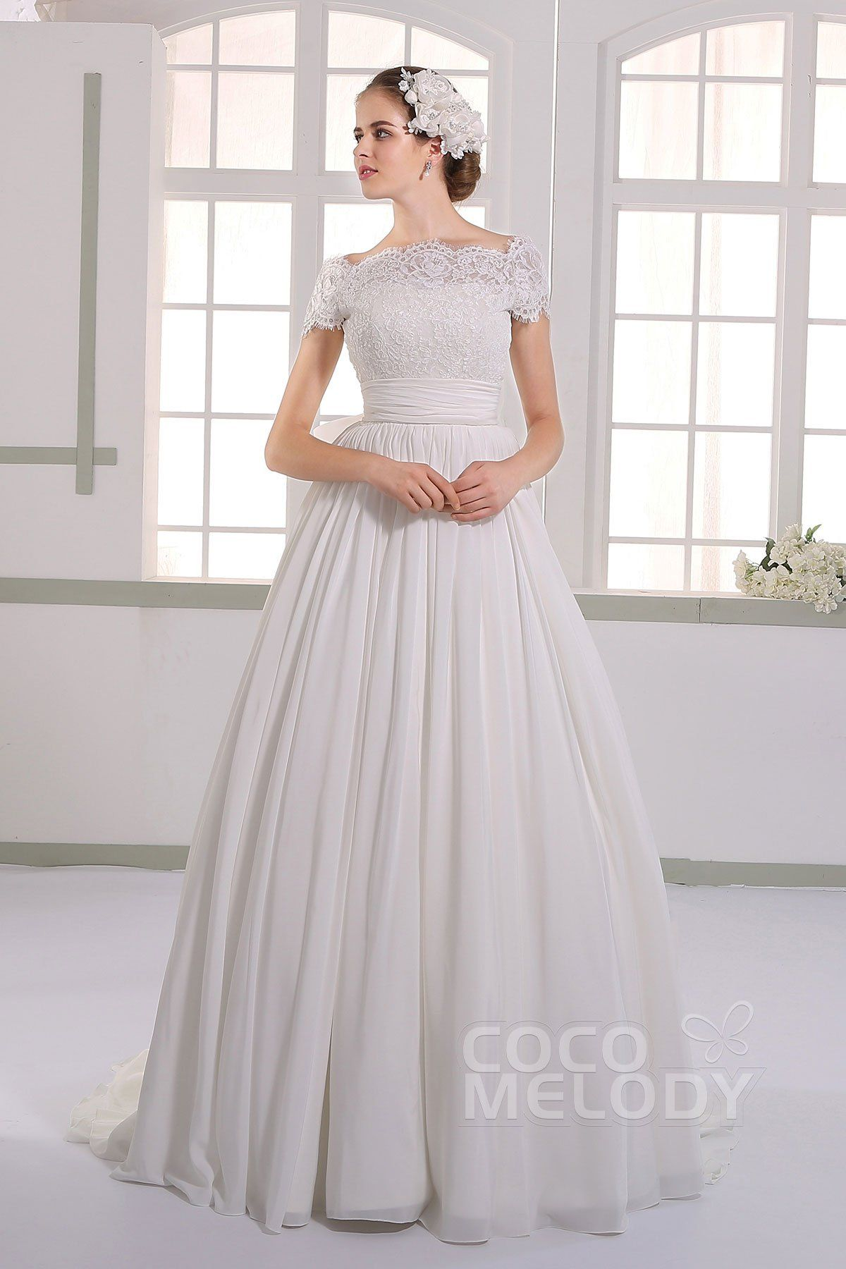 Dramatic aline off the shoulder natural court train chiffon ivory