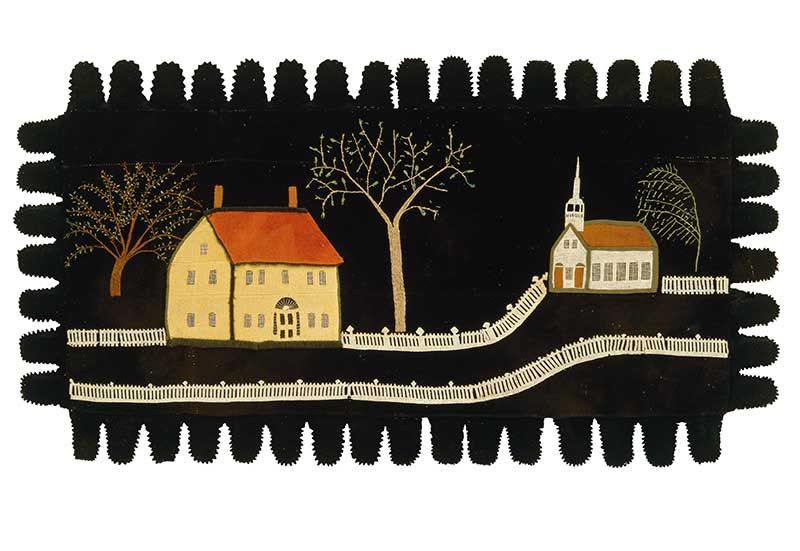 "Artist unidentified Improvement  Possibly Otisfield, Maine  c. 1840  Wool appliqué, gauze, and embroidery on wool  29 x 53""  Collection American Folk Art Museum, New York  Gift of Ralph Esmerian, 2013.1.49  Photo by Stephen Donelian"