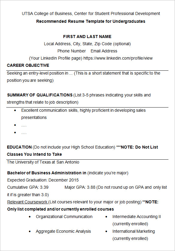 Resume Templates College Student 9 Templates Example Templates Example