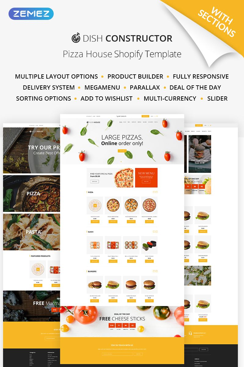 Food & Restaurant Responsive Shopify Theme 64928