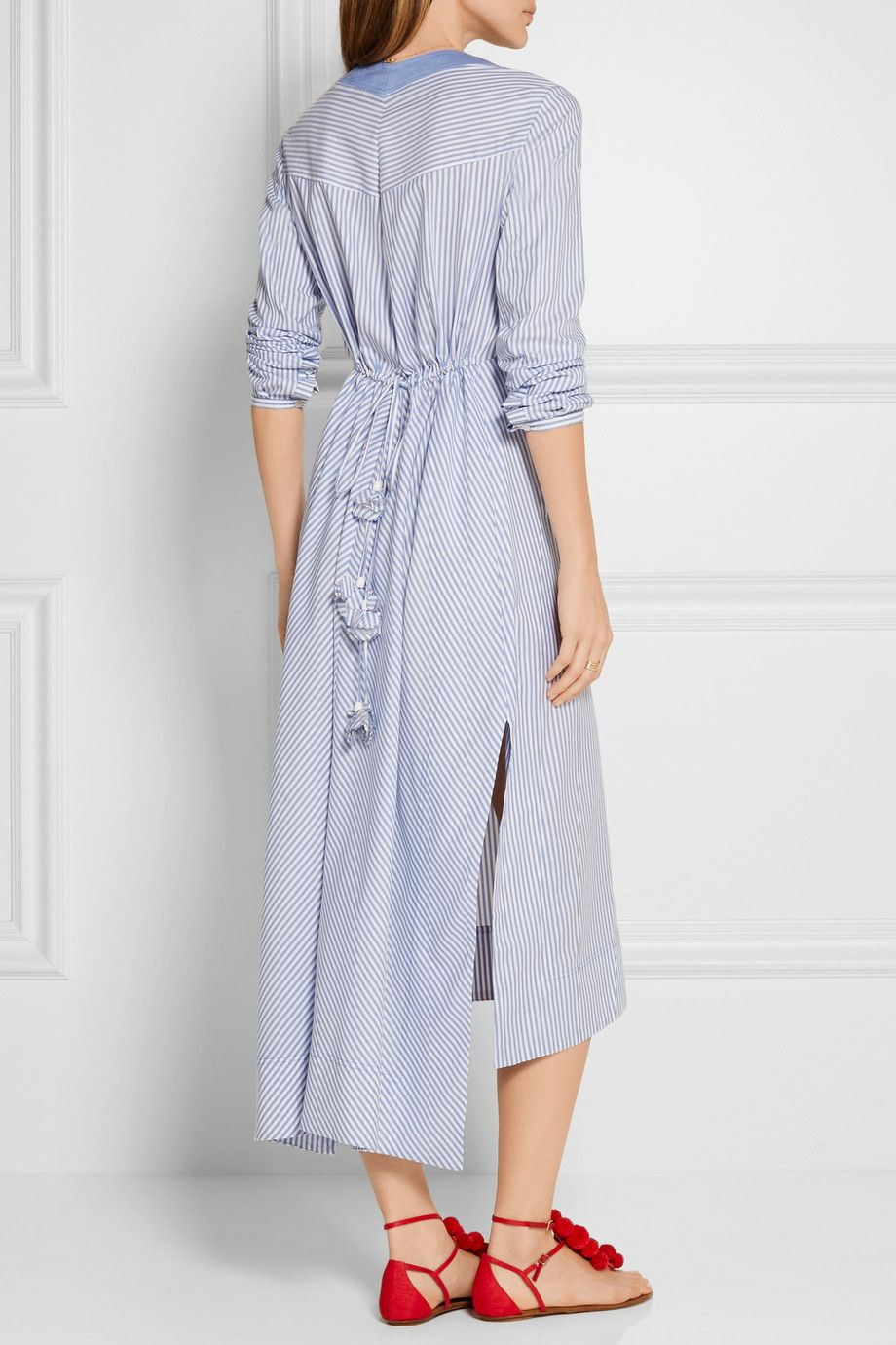 Tory Burch | Jade embroidered cotton Oxford midi dress | NET-A-PORTER.