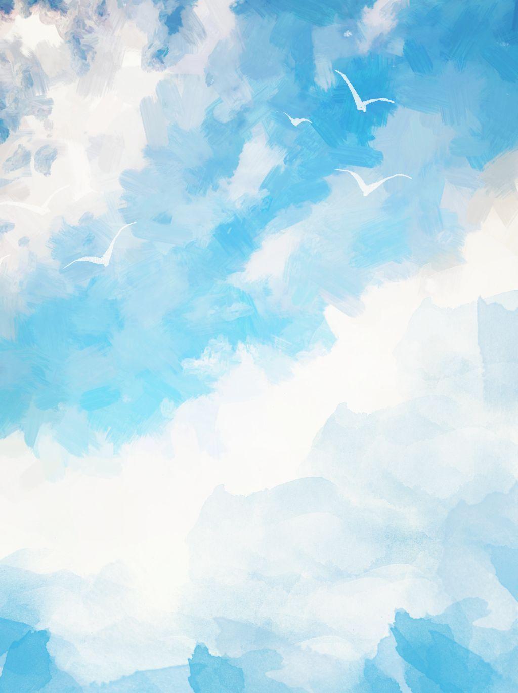 天藍色的天空雲仿水彩效果背景 In 2020 Blue Sky Clouds Blue Sky Background Watercolor Background
