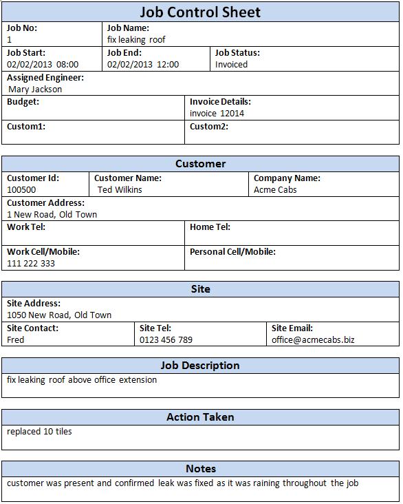 Job Control Sheet