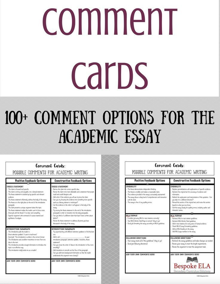 Comment Cards for Academic Essay Writing: Helping Students Give ...