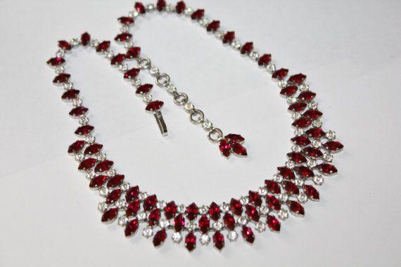 Vintage Red Rhinestone Necklace Austria Bib 1950s by patwatty, $30.00