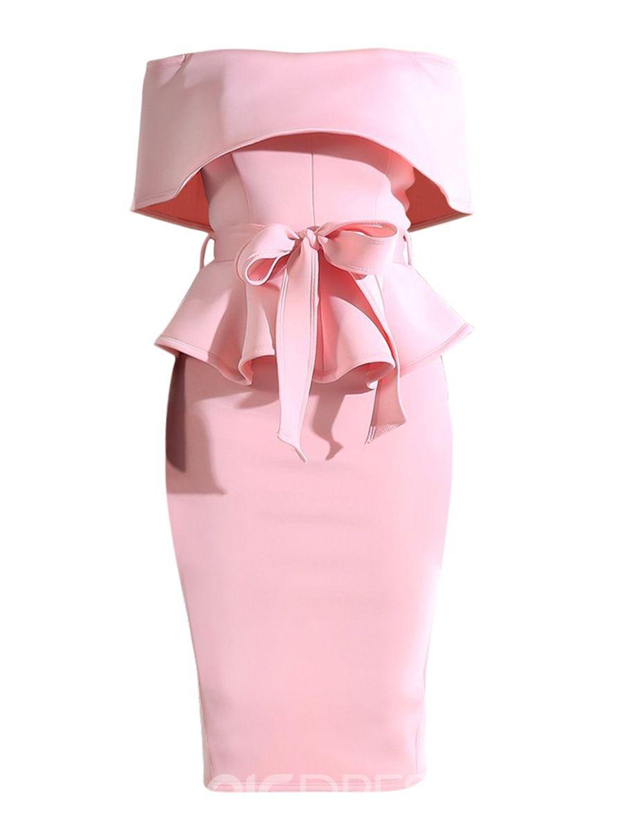 766e8eebb19a31 Ericdress Slash Neck Knee-Length Plain Bow Ruffle Women's Bodycon Dress