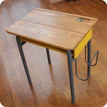 Meubles vintage meubles vintage enfant ancien bureau d 39 colier avec porte cartable - Bureau secretaire enfant ...