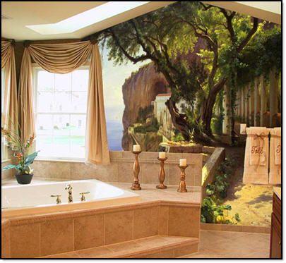 Safari Themed Bathroom   Bedroom With Snow Mountain View Of Artwork Design