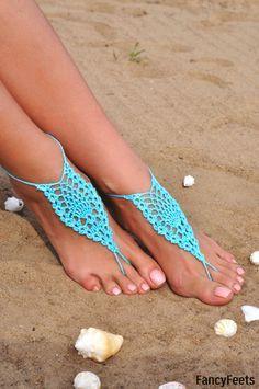 Crochet Aqua Barefoot Sandals, Foot jewelry, Bridesmaid gift
