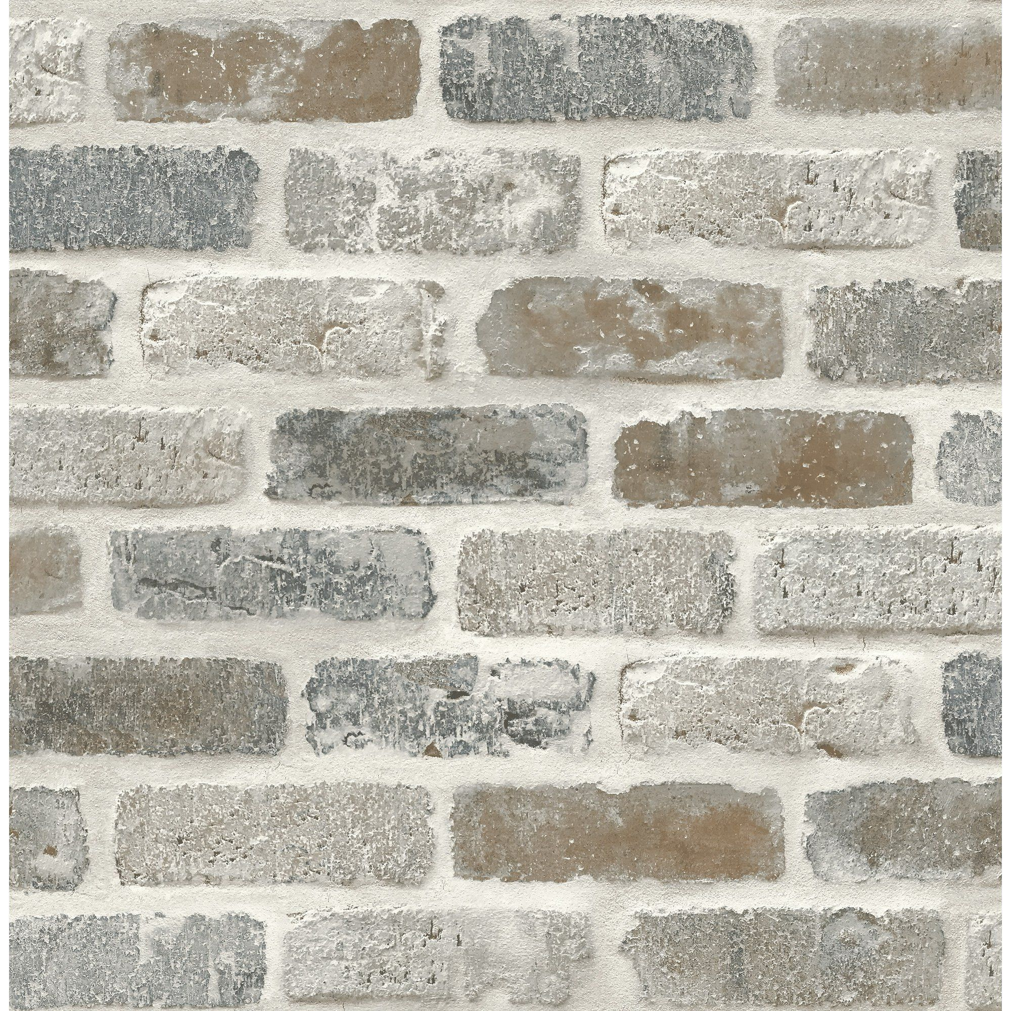 Washed Faux Brick Wallpaper Peel Stick Gw1003 White Gray Brown Walmart Com Faux Brick Wallpaper Faux Brick Walls Faux Brick